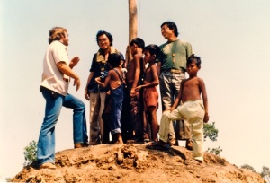 Thai-Kampuchean border circa 1980:  Surveying No-man's Land amidst refugees, warlords and anti Vietnamese resistance forces  (L - R) Freelance American journalist Gary Ferguson; author Kim Gooi; ABC News cameraman Naoki Mabuchi