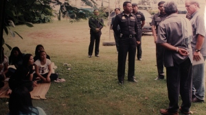 Young Girls Rehab Center, Maesai: far right, RD writer and Sompop, bavk to camera, and police officers interviewing teenage girls